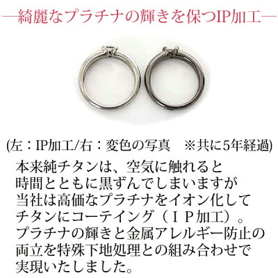チタン結婚指輪(マリッジリング)鏡面仕上げプラチナイオンプレーティング加工商品【送料無料】刻印無料(文字彫り)金属アレルギーにも強いアレルギーフリーブライダルリングチタンマリッジリング刻印可能なチタン