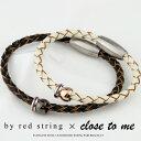 ペアブレスレット 本物の赤い糸が入った サージカル ステンレス(316L) 刻印無料 刻印可能 4つ編み 本革 レザー Close …