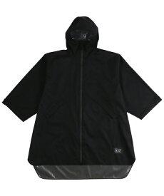 KiU SLEEVE RAIN PONCHO  プリント ブラック  (K77-182)(キウ)(レインポンチョ)(男女兼用)