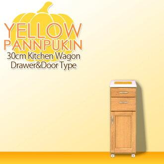 """不要有厨房手推车小门抽屉纤细解说员的瓷砖最高层北欧""""YellowPumpkin""""日本制造成品组装的宽30cm小小厨房收藏天然白白家具乡村风格柜台手推车休闲摩登可爱的古董"""