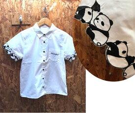 お袖にパンダいっぱいシャツ パンダシャツ パンダブラウス はんだブラウス ブラウスパンダ アニマルシャツ アニマルブラウス ネコシャツ クマシャツ うさぎシャツ パンダシャツ