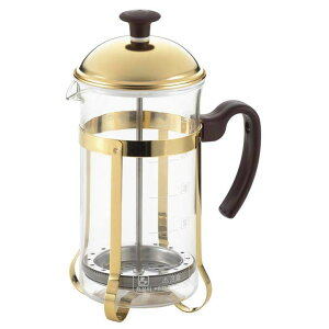 ヨシカワ ブラウニー コーヒープレス & ティーサーバー SJ226 ティーポット ティープレス ゴールド 金色 耐熱ガラス ステンレス製 ステンレス ガラス 日本製 コーヒーメーカー 紅茶 コーヒー