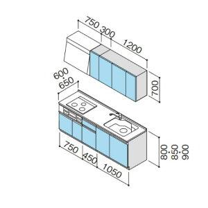 メーカー直送クリナップシステムキッチンラクエラW2250開き扉シンシアシリーズI型