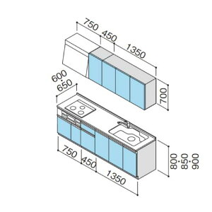 メーカー直送クリナップシステムキッチンラクエラW2550開き扉TGシンクグランドシリーズI型