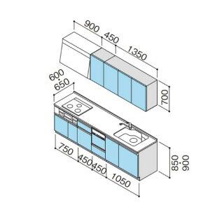 メーカー直送クリナップシステムキッチンラクエラW2700開き扉食洗付シンシアシリーズI型