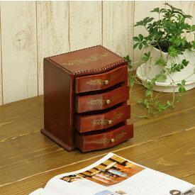 送料無料 3,000円ポッキリ 小引出し キーボックス 卓上小引き出し 4段 幅18cm 奥14.6cm 高19.5cm 天然木製 完成品 RE1819