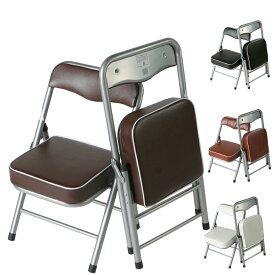 1脚販売 折りたたみチェア 小さい椅子 折りたたみイス パイプイス パイプ椅子 折畳み椅子 スチール製 完成品 全4色 2.5キロ ちょいがるチェア【黒欠品】