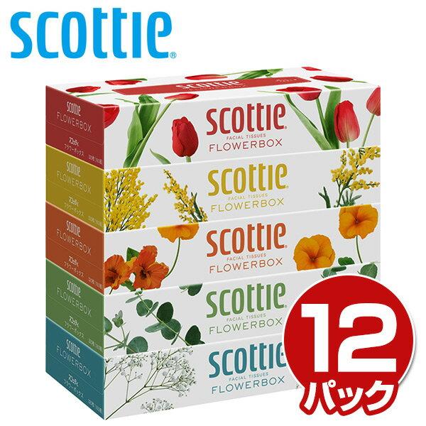 日本製紙クレシア スコッティ (SCOTTIE) ティッシュペーパー フラワーボックス 320枚(160組)5箱×12パック(60箱) 41270 ティシュペーパー まとめ買い ケース販売 日用品 【送料無料】