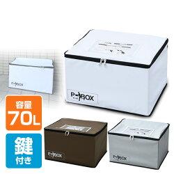山善(YAMAZEN)宅配ボックスP-BOX(ピーボ)軽量折りたたみ70リットル印鑑ポケット・盗難防止ワイヤー・鍵付きASPB-1