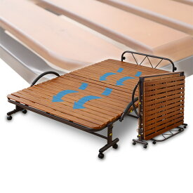 すのこ折りたたみベッド セミダブル KSBB-SD(DBR)R ダークブラウン すのこベッド スノコ折りたたみベッド 折り畳みベッド 折りたたみベット 山善 YAMAZEN【送料無料】【あす楽】