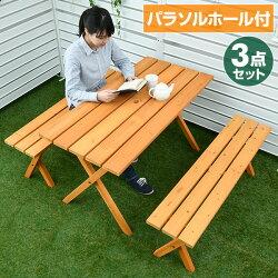 ガーデンマスターピクニックテーブル&ベンチ(3点セット)PTS-1205Sブラウン