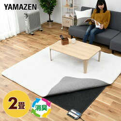 山善(YAMAZEN)空気をキレイにするホットカーペット本体(2畳タイプ)小さく折りたためるタイプ(16折り)SUS-202