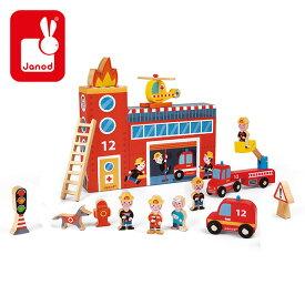 ストーリーボックス ファイアーステーション 木のおもちゃ(対象年齢3歳から) TYJD08522 おもちゃ ごっこ遊び おままごと サーカス ベビー向けおむちゃ 積み木 つみき キッズ こども Janod(ジャノー) 【送料無料】