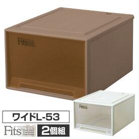 2個組 フィッツ ケース ワイドL-53 幅44 奥行53 高さ30クローゼット 収納ボックス 日本製 同色2個セット クローゼット 収納 引き出し 収納ケース 収納ボックス チェスト 衣類 プラスチック 天馬(TENMA) 【送料無料】