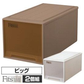 2個組 フィッツ ケース ビッグ幅39 奥行74 高さ35押入れ 収納ボックス 日本製 同色2個セット 押入れ 収納 引き出し 収納ケース 収納ボックス チェスト 衣類 プラスチック おしゃれ 天馬(TENMA) 【送料無料】
