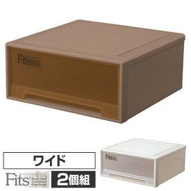 2個組 フィッツ ケース ワイド 幅45 奥行45 高さ20クローゼット 収納ボックス 日本製 同色2個セット クローゼット 収納 引き出し 収納ケース 収納ボックス チェスト 衣類 プラスチック おしゃれ 天馬(TENMA) 【送料無料】