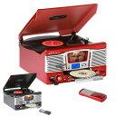 レトロ調 多機能 レコードプレーヤー (AM/FMラジオ (ワイドFM対応)) 録音機能 再生機能 USB/SD CD レコード TCD-682E(…