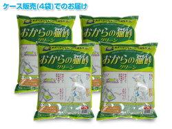 常陸化工トイレに流せるおからの猫砂グリーン(7L×4袋)