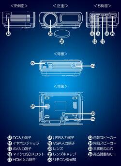 山善YAMAZENキュリオムコンパクトLEDプロジェクター3900ルーメン32-120インチフルHD対応YLP-80HD(W)ホワイト