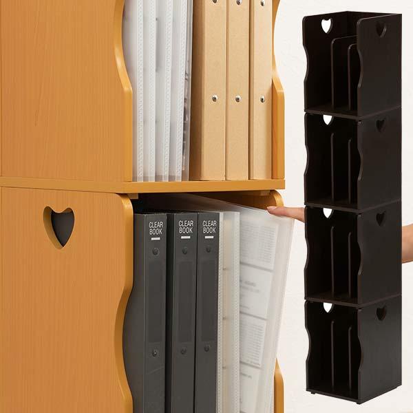 本立て ブックスタンド ファイルスタンド 木製 ファイルボックス おしゃれ A4【同色4個セット】