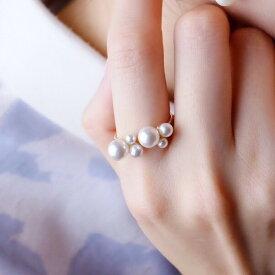 Bubble◯フォークリング パール リング 指輪 選べる ゴールド シルバー バブル 誕生日 プレゼント 卒業式 入学式 真珠の指輪 クリスタルパール 記念日 ホワイトデー 母の日 結婚祝い