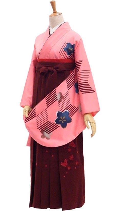 卒業 女性用袴セット 販売 伝統の矢羽根をモダンにアレンジ ピンク【中古】USED身長約149から160cm対応