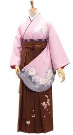 二尺袖着物 女袴 卒業式の購入セット アイスピンクとブラウンのふんわり色コーデ【中古】身長約147から168cm在庫限りです!