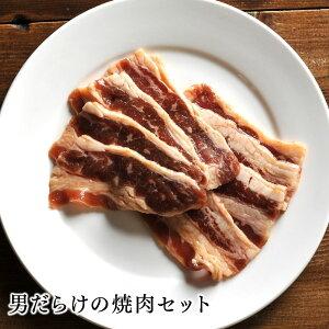 【送料無料】お肉 詰め合わせ 男だらけの焼肉セット北海道のお肉屋さんあおやまがお届けする、焼肉に欠かせないお肉のセット!特製ラム肉ジンギスカン、味付き牛カルビ、味付き牛サガ