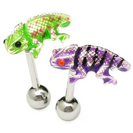 [ WEB限定 再入荷 ] お散歩カメレオンバーベル / かわいい 爬虫類 小ぶりドット ストライプ 緑 紫 こだわりピアス つけっぱなし (ネコポスOK) 3,980円(税込)以上 送料無料 あす楽