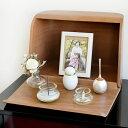 ミニ仏壇 やさしい時間 祈りの手箱 ブラウン 仏具セット ボックスタイプ お線香 ローソク 手元供養専門店 未来創想