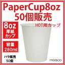 厚紙紙コップ8オンス(ホワイト)50個_業務用_ホット用_280ml