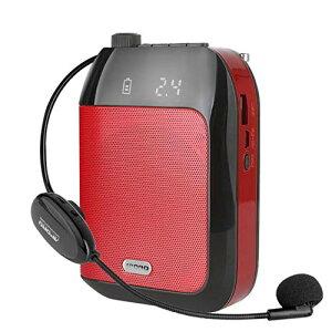 ポータブル拡声器 無線拡声器 2.4G技術内蔵 ハンズフリー ヘッドセット ワイヤレスマイク付き 小型スピーカー 音楽再生/ラジオ放送/