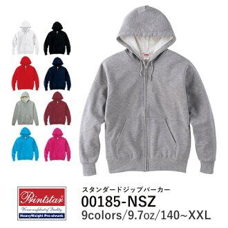 Printstar (Star print) | Standard Zip Hoodie 9.7 oz | 140 cm 150 XS S M L XL XXL | Mens ladies | 185 nsz | Black and white white black pink red grey