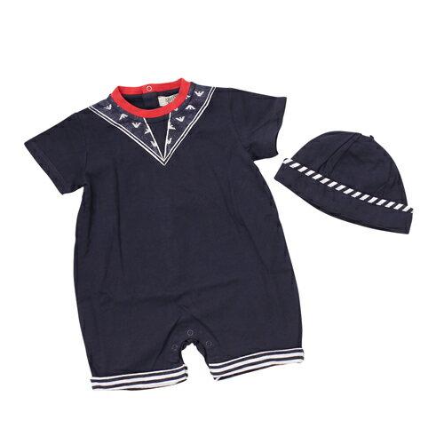 アルマーニ ベビー ARMANI BABY ベビー服 出産祝いギフト 2点セット (半袖ショートオール・キャップ) AKT01【ラッピング無料】
