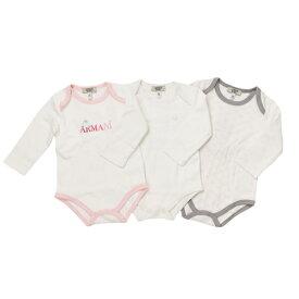 アルマーニ ベビー ARMANI BABY ベビー服 出産祝いギフト 長袖ロンパース 3点セット UK8014APK