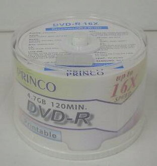 ☆ 16 x ☆ PRINCO printable DVD-r 4.7 GB spindle Pack 1 Pack (50 sheets)