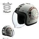 【送料無料】【在庫有】ライズ(RIDEZ) シールド付き ジェットヘルメット KNUCKLE HEAD(ナックルヘッド) BULL2 ホワイ…