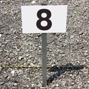 【年度末応援セール!ポイント2倍】◎駐車場アルミ角柱付番号プレート 支柱付駐車場番号 ■プレートサイズ:H165×W250ミリ/砂利 土 更地 駐車場番号看板 SCN-101