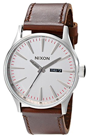 NIXON ニクソン 腕時計 SENTRY LEATHER セントリーレザー SILVER/BROWN A105-1113 メンズ