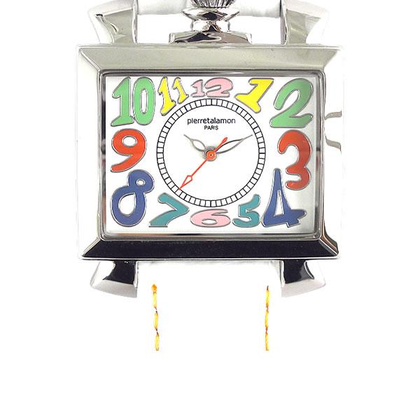 [ピエールタラモン]pierretalamon 腕時計 スクエア ビッグフェイス ウォッチ ホワイト/マルチカラーインデックス PT-6000-1 レディース