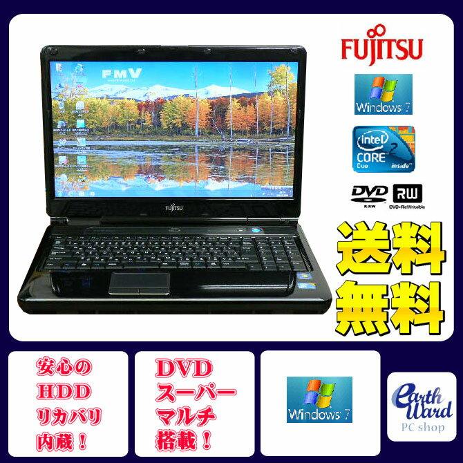 富士通 ノートパソコン 中古パソコン NF/E50 ブラック テンキー ノート 本体 Windows7 WPS Office付き Core 2 Duo DVD 4GB/500GB 送料無料 【中古】