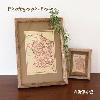 图片框架木结构墙站相框桌面照片站金额相框架礼品室内天然芒果木木制显示面板架 A3