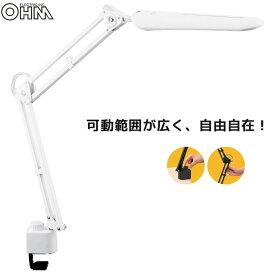 クランプ式 LED調光アームライト ホワイト クランプライト デスクライト 学習机 AS-LD51AK-W 07-8114 オーム電機