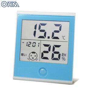 時計付き温湿度計 温度計 湿度計 インフルエンザ 熱中症対策 時計付き 大画面 見やすい TEM-200-A 08-0021 オーム電機