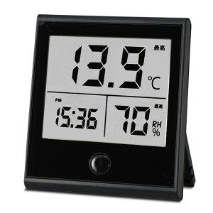 時計付き温湿度計 ブラック インフルエンザ 熱中症対策 温度計 湿度計 TEM-210-K 08-0092 オーム電機