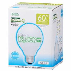 オーム電機 電球形蛍光灯 E26 ボール形 60形相当 昼光色 エコデンキュウ EFG15ED/12 06-0262