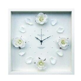『 Art Flower Clock ローザ 掛け時計 』掛時計 掛時計 壁掛時計 壁掛け時計 インテリアクロック アートパネル 造花 花びら 薔薇 アートフラワー モダン エレガント おしゃれ かわいい ヨーロピアン ほとんど音がしない 連続秒針 四角 引っ越し祝い プレゼント