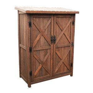『オールドカントリー調ストッカー120 ダークブラウン 』収納庫 木製収納庫 木製物置 屋外収納庫 ガーデン収納庫 ベランダ収納庫 物置き 屋外 3段 木製 ミドルタイプ おしゃれ かわいい 北欧