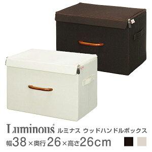 カラーボックスにぴったり入る スチールラックと相性抜群♪ 布製 フタ付き 収納BOX 収納ボックス 収納ケース 幅40モデル ルミナス 幅38×奥行26×高さ26cm ウッドハンドルボックス アイボリー