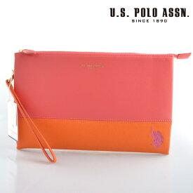 US POLO ASSN 686582 USPA-1903 pink orange サフィアノ クラッチバッグ 【新品・正規品・送料無料】 ギフト 【】